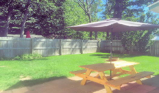 Privat Back Yard with Fire Pit and Picnic Table