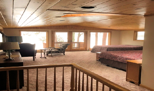 Lake Home Eleven upper level Bedroom Two with Two Bouble Beds