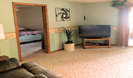 Lake View Rental Home Cabin Eight Living Room with HDTV